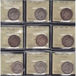 Lot of 9 ICCS Graded Fifty Cent (1870-1900)