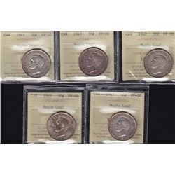 Lot of 5 Graded 1947 Fifty Cent