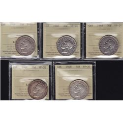 Lot of 5 Graded 1948 Fifty Cent