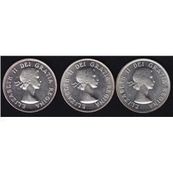 Lot of Three 1953 Fifty Cents