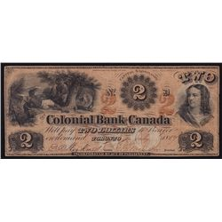 1859 Colonial Bank of Canada $2