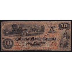 1869 Colonial Bank of Canada $10
