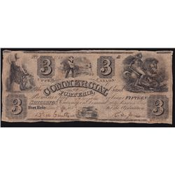 1837 Commercial Bank of Fort Erie $3