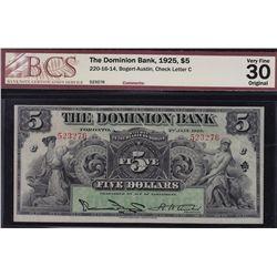 1925 Dominion Bank $5