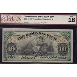 1910 Dominion Bank $10