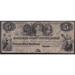 1849 Farmer's Joint Stock Bank $5