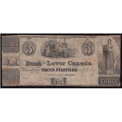 18__ Bank of Lower Canada Trois Piastres Remainder