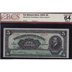 1922 Molsons Bank $5
