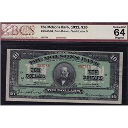 1922 Molsons Bank $10
