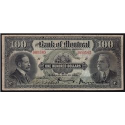 1914 Bank of Montreal $100