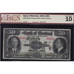 1931 Bank of Montreal $50