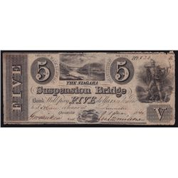 1841 Niagara Suspension Bridge $5