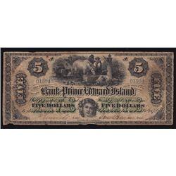 1872 Bank of Prince Edward Island $5