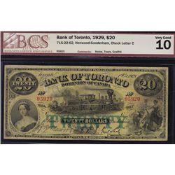 1929 Bank of Toronto $20
