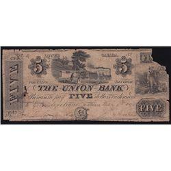 1838 Union Bank $5