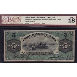 1912 Union Bank of Canada $5