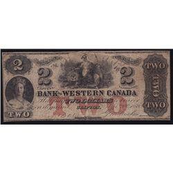 1859 Bank of Western Canada $2
