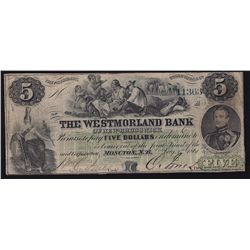 1861 Westmorland Bank of New Brunswick $5