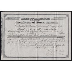 1890 Bank of Yarmouth Certificate of Stock