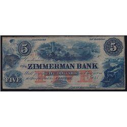 185_ Zimmerman Bank $5 Remainder