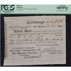 Early Canadian Historical Documents - Bill of Exchange