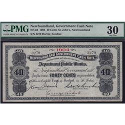 1904 Newfoundland Government 40 Cent Cash Note