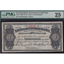 1906 Newfoundland Government $1 Cash Note