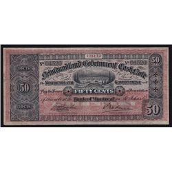 1911-12 Newfoundland Government 50 Cents Cash Note