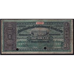 1912-13 Newfoundland Government 1 Dollar Cash Note