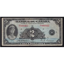 1935 Bank of Canada $2 French
