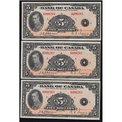 1935 Bank of Canada $5 Lot of 3 Sequential