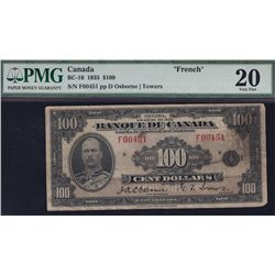1935 Bank of Canada $100 French