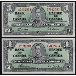 Lot of Two 1937 Bank of Canada $1 Consecutive Pair