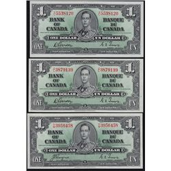 Lot of Three 1937 Bank of Canada $1