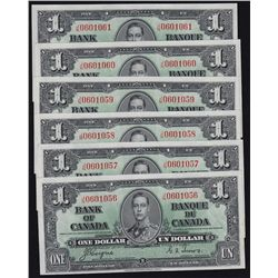 1937 Bank of Canada $1 Lot of 6 Sequential