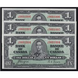 1937 Bank of Canada $1 Lot of 3 Sequential