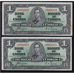 1937 Bank of Canada $1 Lot of 2 Sequential