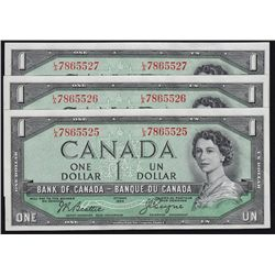 1954 Bank of Canada Devil's Face $1 Consecutive Serial Number Lot of 3