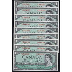 1954 Bank of Canada $1 Complete Prefix Set