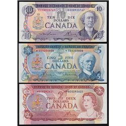 Lot of Three Multi Colour Bank of Canada Replacement Notes