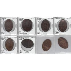 Lot of eight Canadian Elongated Coins.
