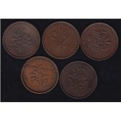 Lot of 5 Lower Canada Tokens