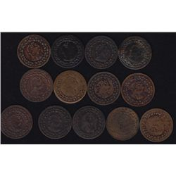 Lot of 13 Tiffin 1812 Halfpenny Tokens CH LC-48C, BR 961, by Courteau numbers.