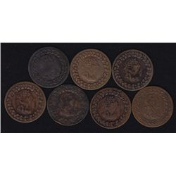 Lot of 22 Tiffin 1812 Halfpenny Tokens CH LC-48A & B, BR 960, by Courteau  numbers.