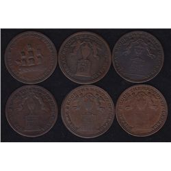 Lot of 6 Upper Canada Tokens