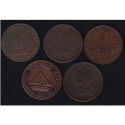 Lot of 5 Upper Canada Tokens