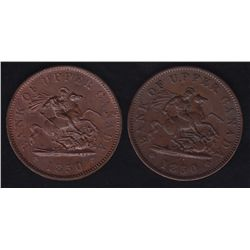 Lot of 2 Bank of Upper Canada Tokens