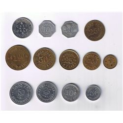 Lot of Thirteen Oxford County, Ont. Due Bill Tokens