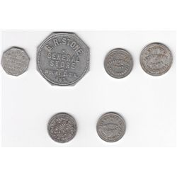 Lot of Six Oxford County, Ont. Due Bill Tokens