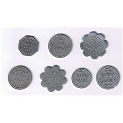 Lot of Seven Ingersoll, Ont. Dairy Tokens.